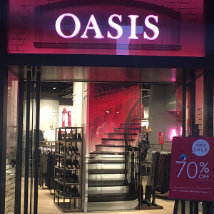 Oasis high street stores shopfronts planned and designed and completed with fit-out